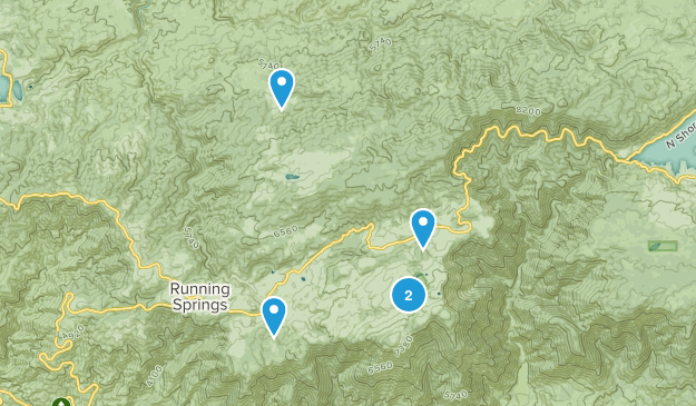 Running Springs, California Hiking Map