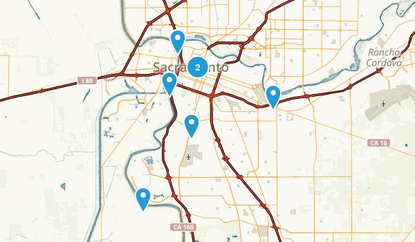 Sacramento, California Hiking Map