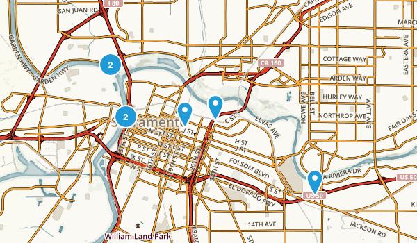 Sacramento, California River Map