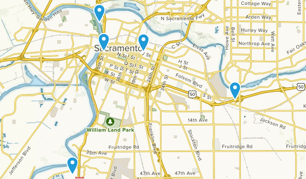 Sacramento, California Road Biking Map