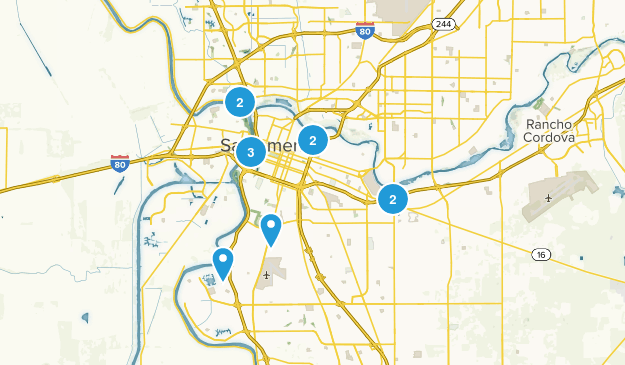 Sacramento, California Trail Running Map