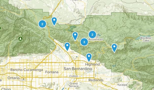 San Bernardino, California Hiking Map