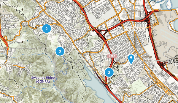 San Bruno, California Trail Running Map