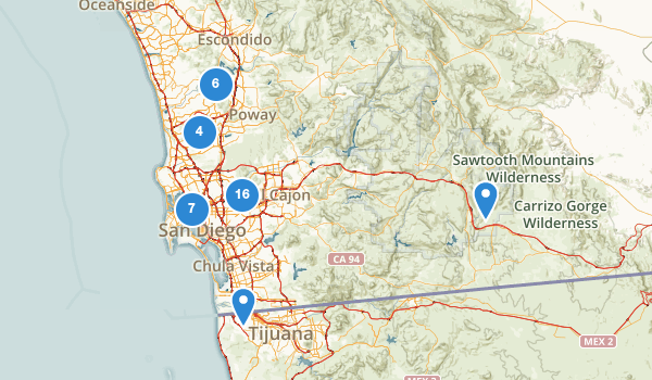 trail locations for San Diego, California