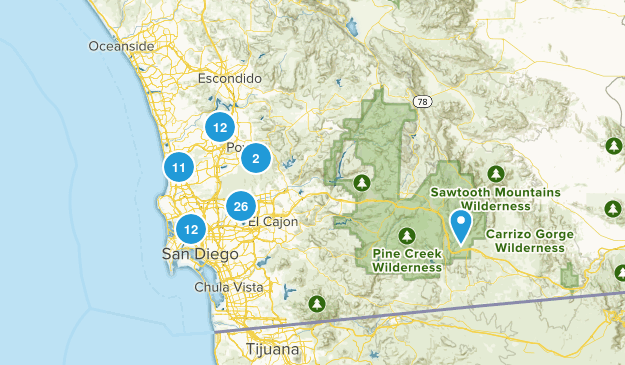 San Diego, California Nature Trips Map