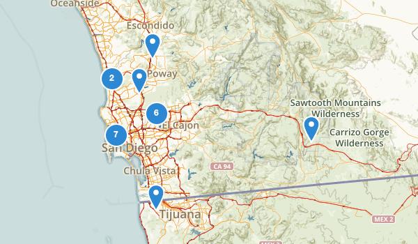 trail locations for San Diego, California