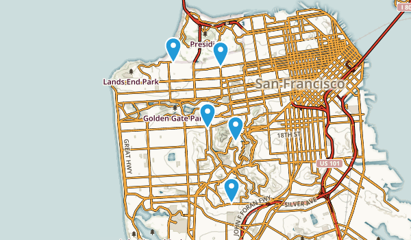 San Francisco California Mountain Biking Map