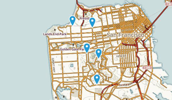 San Francisco, California Mountain Biking Map