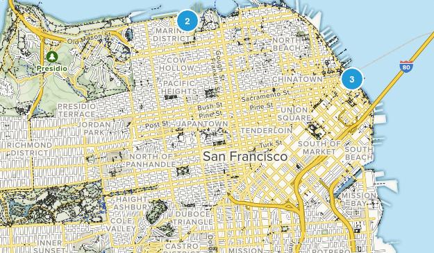 San Francisco, California Paved Map