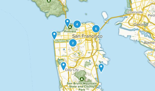 San Francisco, California Road Biking Map