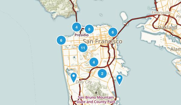 San Francisco, California Trail Running Map