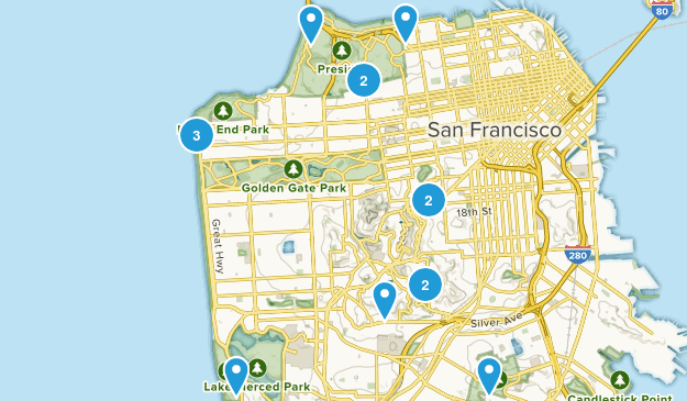 San Francisco, California Wild Flowers Map