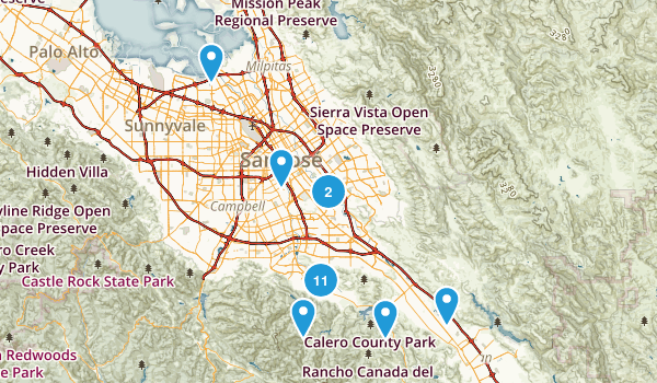 San Jose, California Dogs On Leash Map