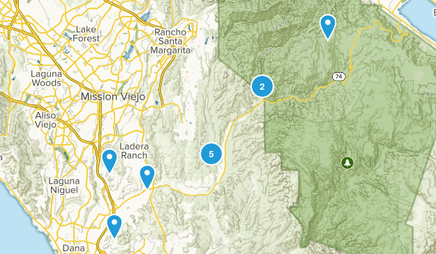 San Juan Capistrano, California Hiking Map