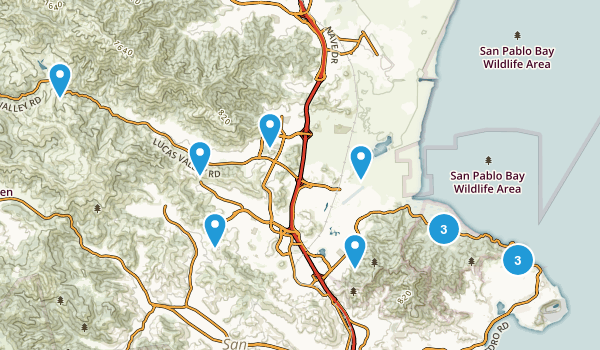 San Rafael, California Trail Running Map