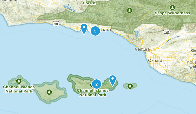 Santa Barbara, California Beach Map