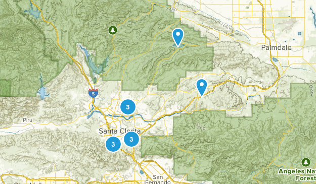 Santa Clarita, California Trail Running Map