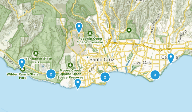 Santa Cruz, California Beach Map