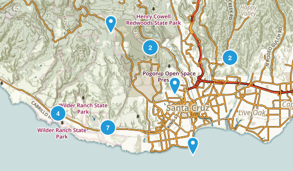 Santa Cruz, California Mountain Biking Map