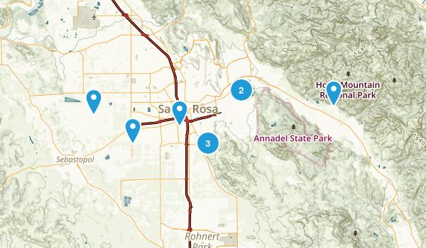 Santa Rosa, California Dogs On Leash Map