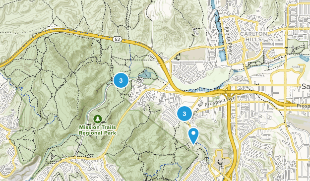 Santee, California Dogs On Leash Map