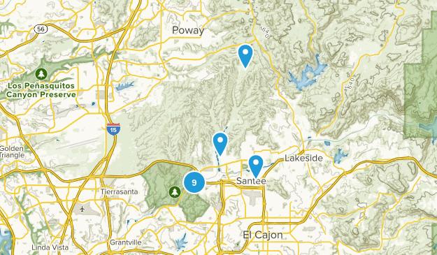 Santee, California Hiking Map