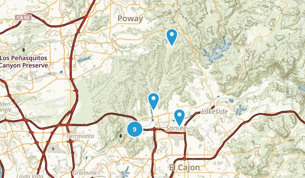 Santee, California Trail Running Map