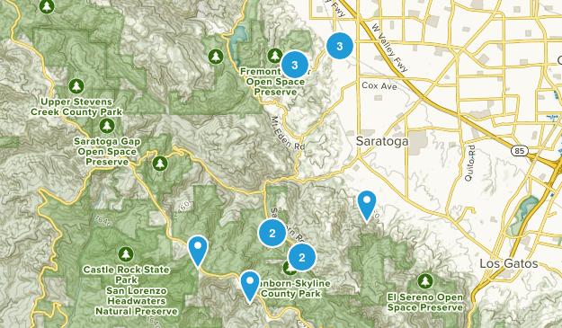 Saratoga, California Dogs On Leash Map