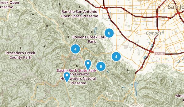 Saratoga, California Trail Running Map