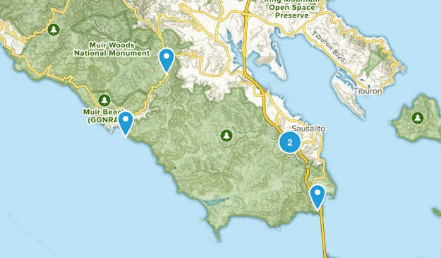 Sausalito, California Forest Map