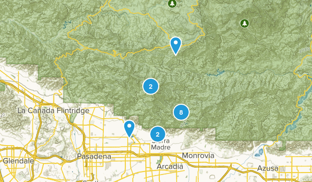 Sierra Madre, California Waterfall Map