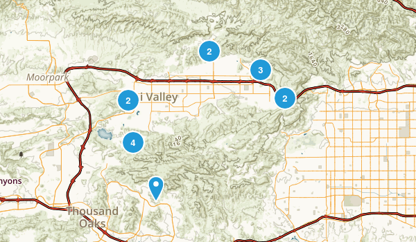 Simi Valley, California Dogs On Leash Map