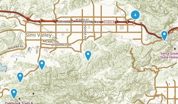 Simi Valley, California Mountain Biking Map