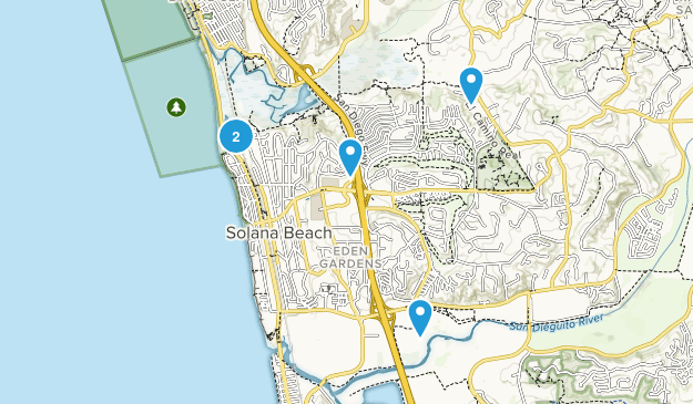 Solana Beach, California Dogs On Leash Map