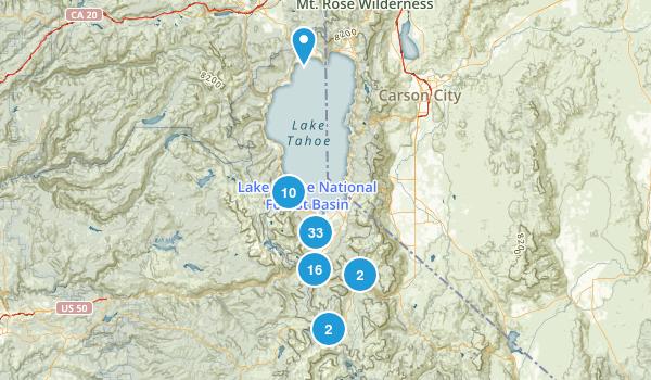 South Lake Tahoe, California Hiking Map