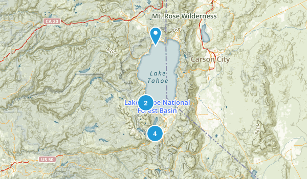 South Lake Tahoe, California Waterfall Map