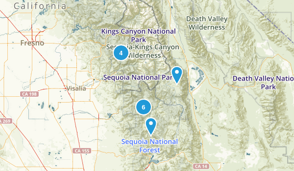Springville, California Backpacking Map