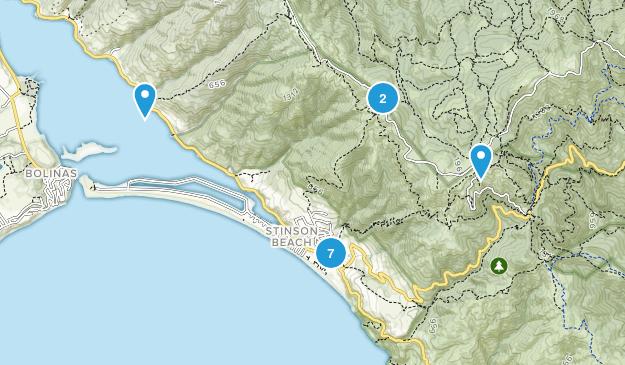 Stinson Beach, California Waterfall Map