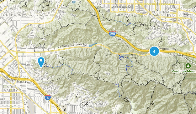 Sun Valley, California Mountain Biking Map