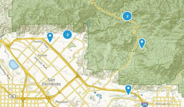 Sylmar, California Hiking Map