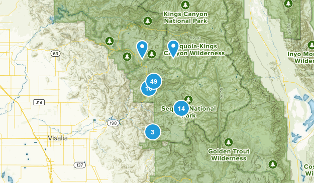 Three Rivers, California Hiking Map