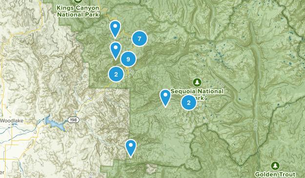 Three Rivers, California Trail Running Map