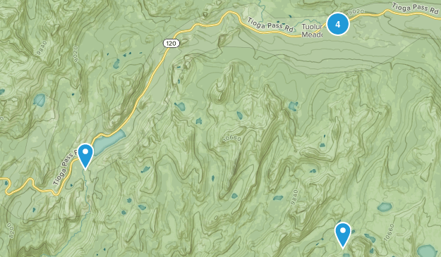 Tuolumne Meadows, California Camping Map