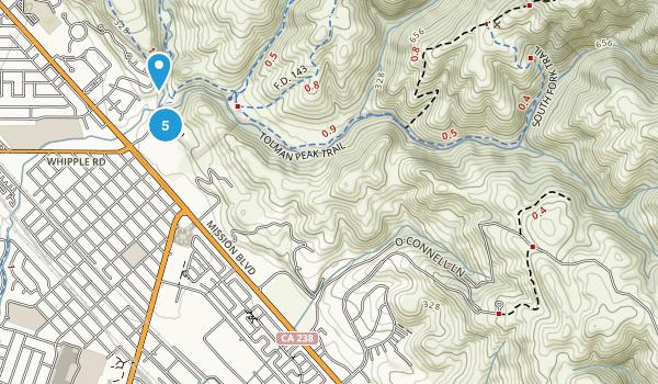 Union City, California Hiking Map