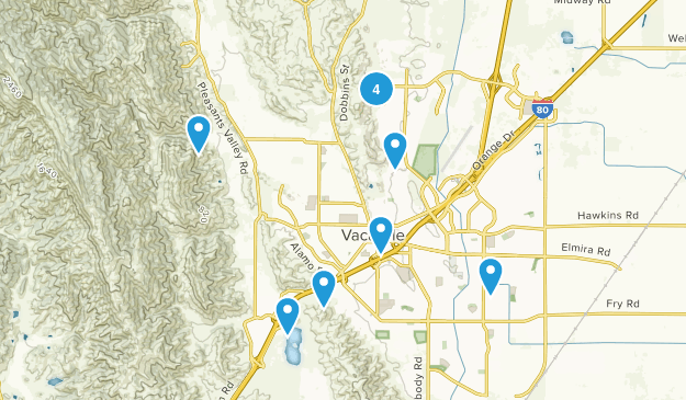 Vacaville, California Dogs On Leash Map