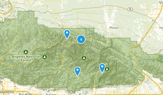 Valyermo, California Backpacking Map