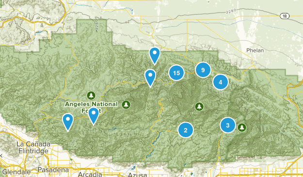 Valyermo, California Hiking Map