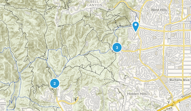 West Hills, California Dogs On Leash Map