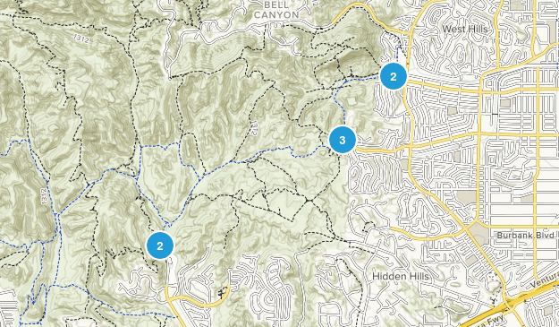 West Hills, California Hiking Map