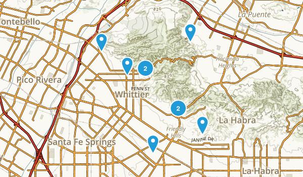 Whittier, California Hiking Map